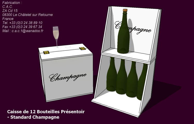 Caisse présentoir de 12 bouteilles