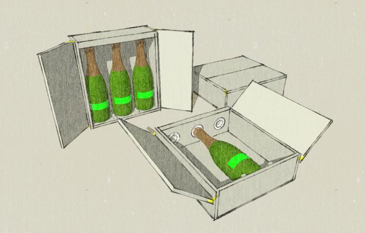 Caisse 3 bouteilles - Fermeture tabernacle - Cal mousse